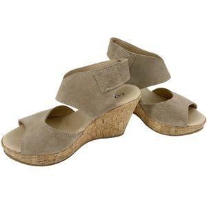 Cordani Rhonda Wedge Sandals Beige Suede Size 36